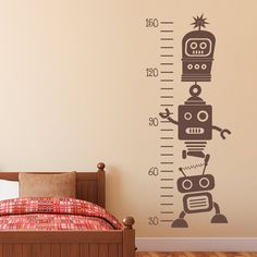 Growth Chart Wall Decal Robot Wall Decal by StephenEdwardGraphic