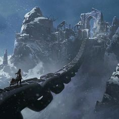 Chain bridge | Holy city in the snow | Mountain, warrior, fighter, journey | Fantasy places art