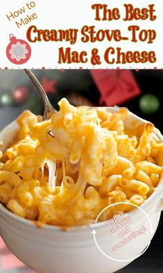 This stove top macaroni and cheese is super creamy and full of all the cheese plus sour cream. You can serve it straight from the stove, or finish it in the oven so you have delicious crispy bits on top. Deeply flavored but actually pretty easy to make, this comfort food pasta dish is just what you need when it's cold outside. Or whenever you want super creamy mac and cheese! #macandcheese #creamymacandcheese #macaroniandcheesewithsourcream #comfortfood #casseroles #pastrychefonline Good Macaroni And Cheese Recipe, Cheesy Pasta Recipes, Creamy Mac And Cheese, Cheese Recipes, Southern Mac And Cheese, Southern Food, Southern Recipes, Beverages, Drinks