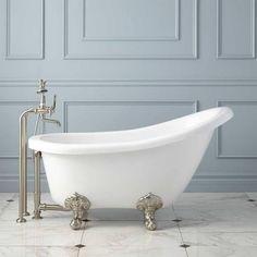 Victorian Acrylic Slipper Clawfoot Tub   Imperial Feet   Bathtub   Bathroom  // No Drilling, Polished Brass Or White