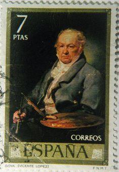 """España. Vicente López Portaña fue un pintor español del neoclasicismo. En este sello aparece una de sus obras: """"Goya"""". Old Stamps, Mail Art, Postage Stamps, Vivid Colors, Ephemera, Spain, Baseball Cards, Sorting, Painting"""