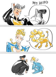 pon de WRYYYYYng (source: long ago someone linked a comic abt josuke's hero being mysterious pompadour boy, and kakyoin's hero being masaru-chan, and I think magatsumagic said 'giorno's hero' = pon de ring de lion. let us all be relieved that Giorno...