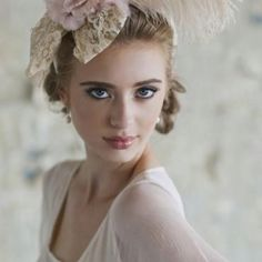 Reminiscent of a French Impressionist painting, this antique cream padded headband is adorned with pink and beige feather accents, rhinestone centered floral details, and a cream lace bow for a hint texture. Wedding Hair And Makeup, Hair Makeup, Chateau Wedding Inspiration, Derby, Bridal Hat, Pink Headbands, Glamour, Lace Bows, Vintage Bridal