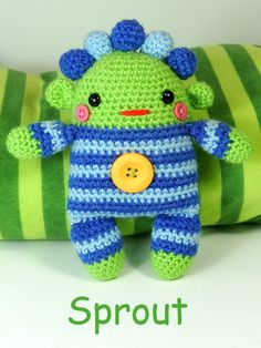Romper Monsters - Amigurumi Crochet Pattern Available in English or French* Bubblegum, Custard and Sprout are three of the sweetest and liveliest baby monsters you could ever hope to meet. With their rosy cheeks and snazzy little romper suits they just love bouncing into all kinds of