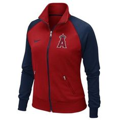 Nike Los Angeles Angels of Anaheim Ladies Full Zip Track Jacket - Red/Navy Blue