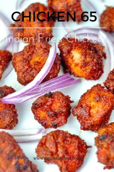 chicken kabob marinade Chicken 65 is a popular Indian fried chicken, which can be easily made with either breast or thigh chicken. Apart from marination time, you can make this r Chicken Snacks, Chicken Appetizers, Yummy Chicken Recipes, Easy Healthy Recipes, Appetizer Recipes, Yummy Food, Indian Appetizers, Dinner Recipes, Dessert Recipes