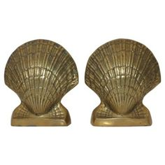 Check out this item at One Kings Lane! Brass Scallop Shell Bookends