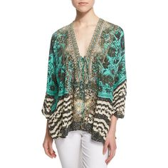 Camilla Sacromonte Embellished Lace-Up Blouse ($460) ❤ liked on Polyvore featuring tops, blouses, green multi, three quarter sleeve tops, v-neck tops, embellished blouses, green blouse and lace up front top