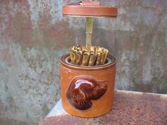 Amazing Vintage Dog Snack / Cigarette Holder. Very unusual 1960s container. Upcycled as dog baton treat dispenser. Quality ceramic & leather @PumpjackPiddlewick on Etsy