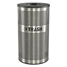 #Ex-Cell Venue Collection 33 gallon perforated stainless steel trash receptacle. #Brushed stainless steel body is fully welded with a contemporary perforated hole...