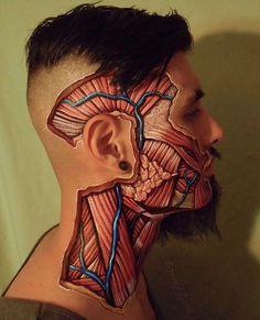 "Tilt Professional Makeup (@tiltmakeup) on Instagram: "" A #faceoff #bodypaint depicting #muscles of #mastication and temporal #vascularure painting…"""