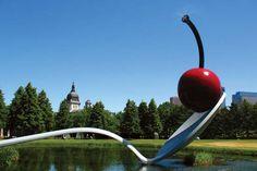 Claes Oldenburg and Coosje van Bruggen's Spoonbridge and Cherry (1985–88), part