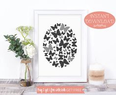 Butterfly Print, Wall Art Prints, Printable Art, Minimalist Print, Butterfly Art, Printables, Digital Print, Modern Print, Scandinavian Art