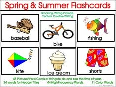 Spring and Summer Picture Word Flashcards, Word Cards and Activities