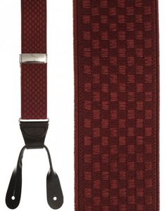 Burgundy Checkers Suspenders