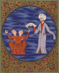 Manuscript-Astrology-Metaliʿü'l-saadet ve yenabiʿü-l-siyadet Seyyid Mohammed ibn Emir Hasan el-Suʿudî, Gallica,BnF Gemini Art, Zodiac Signs Gemini, Zodiac Art, Cosmos, Traditional Artwork, Classic Paintings, Islamic Art Calligraphy, Ottoman, Mythical Creatures