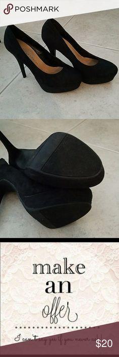 LC Lauren Conrad platform heels LC Lauren Conrad Johanna black suede-like material platform heels.   Excellent used condition. LC Lauren Conrad Shoes Platforms