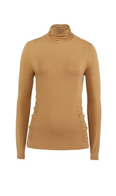 MACADAMIA. Vicuna stretch rayon jersey top with ruched turtleneck and shirred waist. ETCETERA Fall 2014