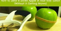 Now this is a tip I can use! My daughter has a hard time with whole apples and if it turns brown she won't eat it. Smart idea! STOP SLICED APPLES FROM GOING BROWN !!!!!! Many people would love to be able to send a sliced apple in their children's school lunch, but because they will turn brown in a couple hours, most of us don't do it. Here is a way to slice an apple and keep it together in a way that will slow down the browning process to allow your child to eat it at lunch. WHAT YOU ...