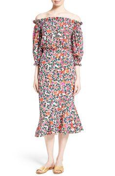 Main Image - SALONI Grace Print Silk Off the Shoulder Dress