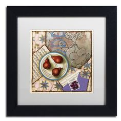 "Trademark Art 'Red Pears and Music' by Rachel Paxton Framed Painting Print Size: 11"" H x 11"" W x 0.5"" D, Matte Color: Black"