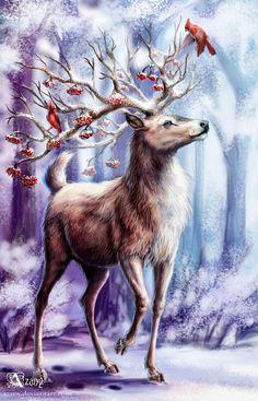 Christmas Scenes, Christmas Pictures, Christmas Art, Illustrations, Illustration Art, Deer Pictures, Deer Art, Cross Paintings, Fantasy Creatures