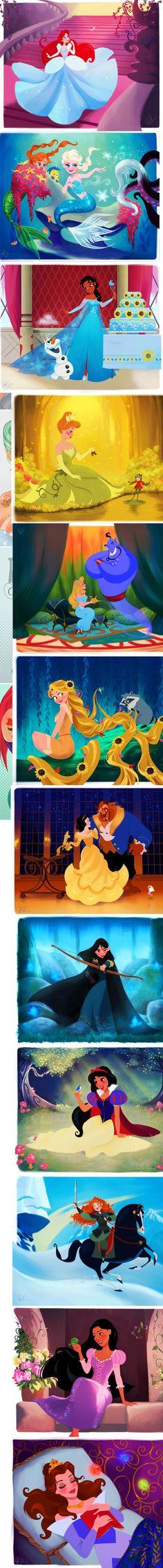 Tiana as Elsa! Cinderella as Tiana! Snow White as Belle! Mulan as Merida! Jasmine as Snow White! Merida as Mulan! Belle as Aurora! Disney Pixar, Walt Disney, Disney Animation, Disney Jokes, Funny Disney Memes, Disney Fan Art, Cute Disney, Disney Dream, Disney Girls