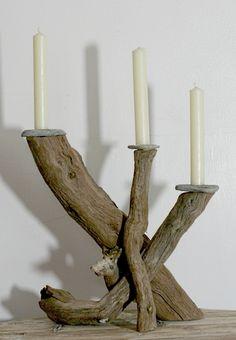 Driftwood candelabra, Drift Wood Candle holder, Drift wood table decoration. £60.00