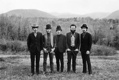 No, this isn't some Civil War-era thing. It's The Band, in all their glory. That tree limb in Garth Hudson's hand is a dowsing rod - when he's not playing the organ, saxophone or some of the other 82 instruments he plays, he dowses for water. My rock star's better than yours.