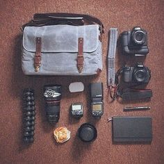 Black and grey -- a classic color combination perfectly demonstrated by Grafikeriet's Canon gear in black and his Union Street bag and Presidio strap in smoke grey. // #onabags #InMyONA