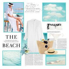 """""""Beach"""" by krystalkm-7 ❤ liked on Polyvore featuring WALL, H&M, DKNY, Eberjey, Clarins, Heidi Klein and BP."""