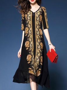 Buy Trendy Floral Printed Round Neck Maxi Dress online with cheap prices  and discover fashion Maxi 422cd462bae