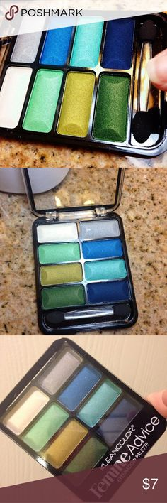 NWT! Hi- Pigment eyeshadow Palette +free gift  Brand New!  From the Factory (bought cartons) USA made!   Kleancolor Femme Advice ( 8 - large compartment eyeshadow palette - with full sized quality mirror - high pigment - long wearing - cruelty free- paraben free) kit #4 Be Fearless- shimmers of blues- greens- golden- white etc- Comes with a FREE brand new full sized mystery thank you gift!  #highpigment, #eyeshadow, #palette,#shimmer, #cheap#makeup,#makeupbundles,  #cosmetics #valentines…