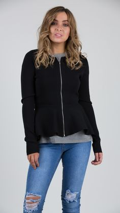 Manni Peplum Zip Up Jacket  - Feather and Noise