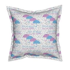 Serama Throw Pillow featuring It's A Girl! It''s A Boy! Raining Umbrellas and…