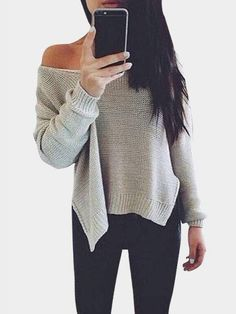 This is a basic v neck jumper you should never miss! The loose jumper features side slit design, irregular hem, you can wear it off shoulder, Style it with a casual denim shorts or skinny jeans for a perfect outfit. #outfit#fallstyle#fashion