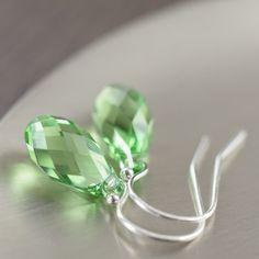 St Patricks day earrings featuring green swarovski crystal dangles.
