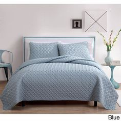 Blue Twin Nina Embossed 100% Polyester 3-piece Quilt Set Light Soft Feel #VCNY #Contemporary