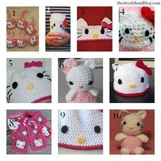 10 Free Hello Kitty Crochet Patterns - thesteadyhandblog Different Patterns, Cool Patterns, Crochet Patterns, Hat Patterns, Crochet Toys, Crochet Baby, Knit Crochet, Hello Kitty Crochet, Knitted Cat