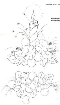 Hand Embroidery Patterns, Cross Stitch Embroidery, Christmas Coloring Sheets, Christmas Templates, Pattern Drawing, Tole Painting, Christmas Colors, Holiday Crafts, Coloring Books