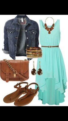 Turquoise Hi-Low Dress with Denim Jacket.... Love!