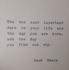 Mark Twain Quote Hand Typed on Typewriter