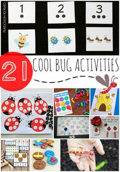 21 super cool bug activities for kids. Tons of bug math, literacy and craft projects. Great for an insect unit! Insect Activities, Pre K Activities, Summer Activities For Kids, Learning Activities, Toddler Learning, Insect Crafts, Bug Crafts, Kids Crafts, Playdough To Plato