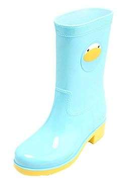 Womens Girls Cute Mid calf Waterproof Rain Boot AntiSkidding 75 blue ** More info could be found at the image url.
