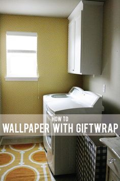 DIY wallpapering with giftwrap on Jones design company Dead Space, Jones Design Company, Painting Wallpaper, Diy Wallpaper, Wall Treatments, Home Projects, Diy Home Decor, Gift Wrapping, Wrapping Ideas