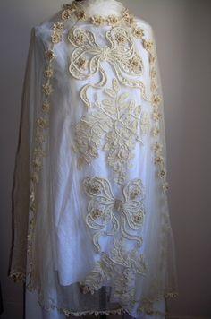 1920 Antique Bridal Wedding lace Veil skirt New Orleans estate