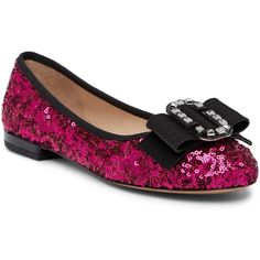 Marc Jacobs Interlock Round Toe Ballerina Flat (480 PEN) ❤ liked on Polyvore featuring shoes, flats, fuchsia, sequin flats, ballet flats, round toe ballet flats, slip on flats and ballerina pumps