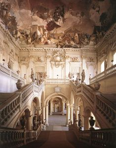 The Rezidens Palace Staircase designed by Johan Balthasar Neumann, completed in 1744 (showing a view of Apollo and the Continents by Giambattista and Domenico Tiepolo).