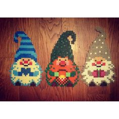 Christmas gnomes hama beads by imakeyoubuyyes Pearler Bead Patterns, Perler Patterns, Christmas Perler Beads, Peler Beads, Iron Beads, Melting Beads, Perler Bead Art, Fuse Beads, Beaded Ornaments