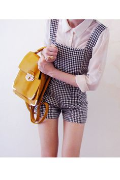 gingham overalls. yellow bag.